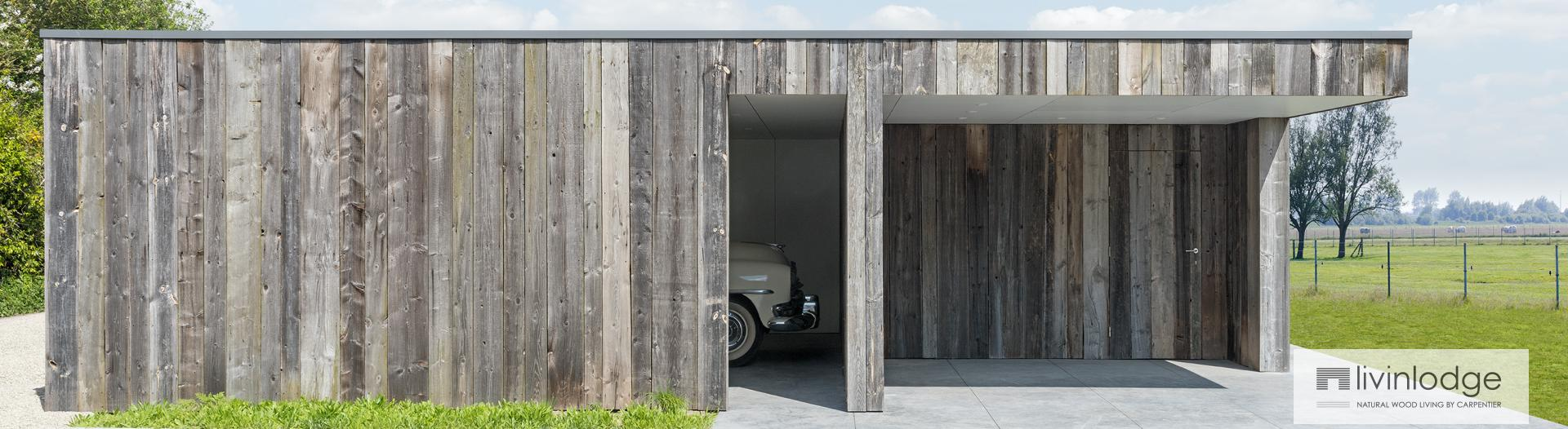 Moderne carport in hout