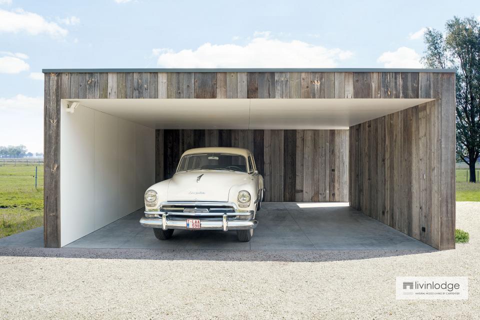 Moderne dubbele carport met berging en terrasoverkapping te Olsene